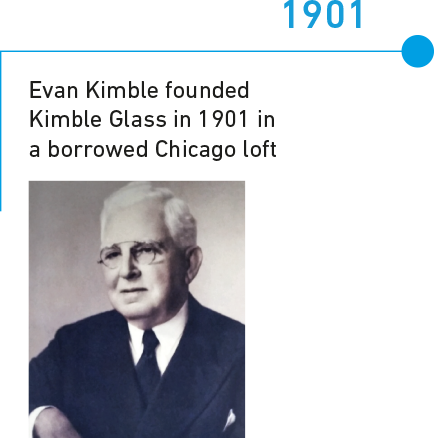 1901 Evan Ewan Kimble founded Kimble Glass in 1901 in a borrowed Chicago loft